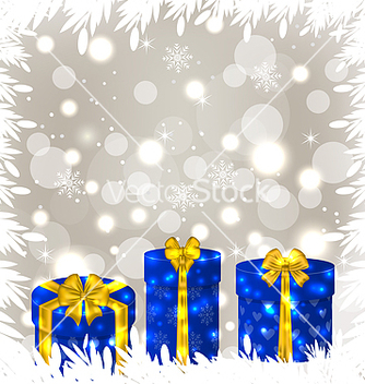 Free christmas gift boxes on glowing background vector - бесплатный vector #239203