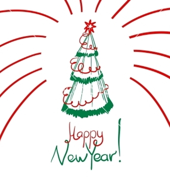 Free christmas card with sketch new year tree vector - Free vector #239213