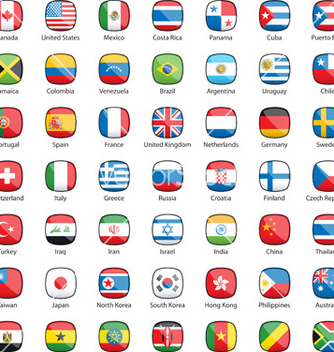 Free international flags buttons vector - Free vector #239273