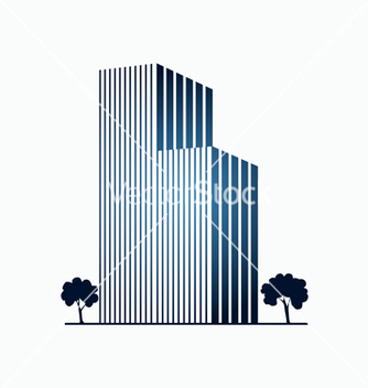 Free blue buildings and trees vector - vector gratuit #239723