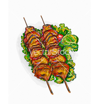 Free chicken shish kebab vector - vector gratuit #243133