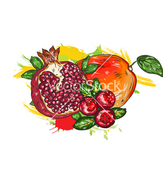 Free fruits with colorful splashes vector - vector gratuit #243183