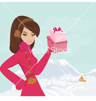 Free fashion shopping girl with gift box vector - бесплатный vector #243793