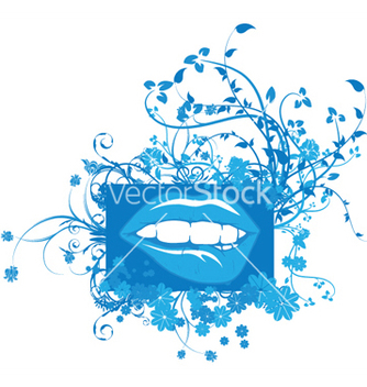 Free mouth with floral vector - Free vector #243973
