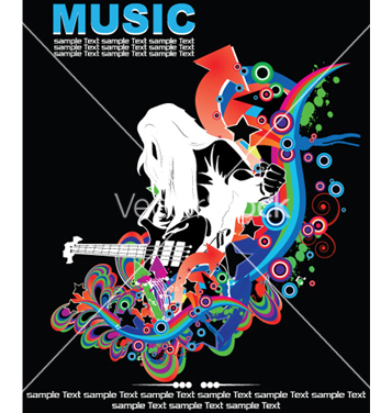 Free music background with guitar player vector - vector gratuit #244013