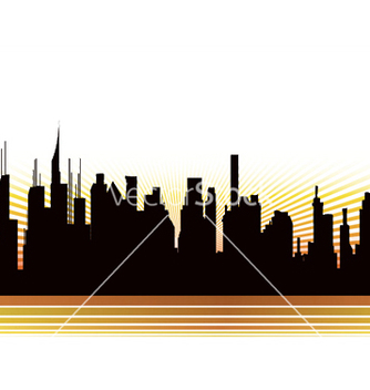 Free city with rays vector - vector gratuit #244263