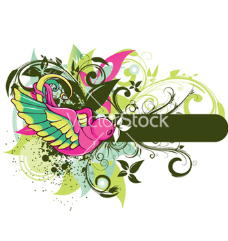 Free bird with floral vector - Free vector #244363