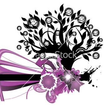Free abstract floral background with tree vector - Free vector #244593