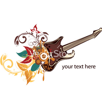 Free guitar with floral vector - Free vector #244623