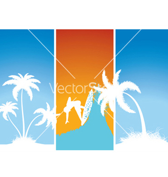 Free summer banners with palm trees and surfer vector - Kostenloses vector #245083