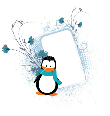 Free penguin with floral frame vector - Free vector #245163
