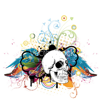 Free skull with floral vector - Kostenloses vector #245363