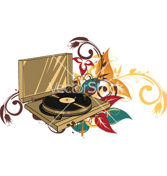 Free turntable with floral vector - Kostenloses vector #245433