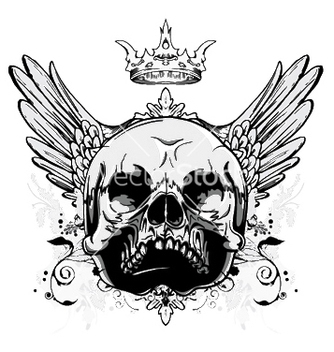 Free skull with wings vintage tshirt design vector - Free vector #245623