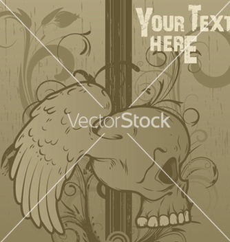Free vintage floral background with skull vector - Kostenloses vector #245693