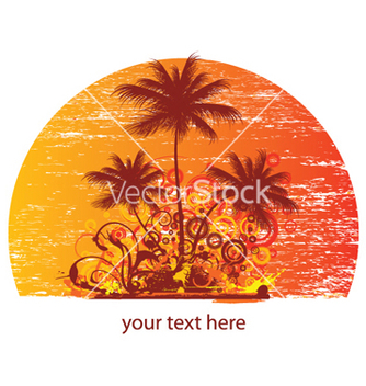 Free vintage summer background with palm trees and vector - Free vector #246113