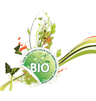 Free bio sticker with floral vector - vector gratuit #246863