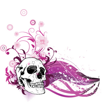 Free skull with floral vector - Kostenloses vector #247153