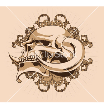 Free skull with floral vector - Kostenloses vector #247163