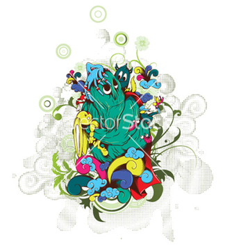 Free funny monsters with floral vector - vector gratuit #248693