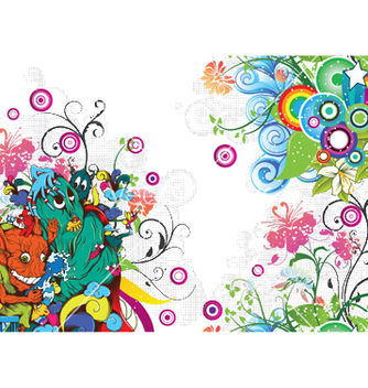 Free funny monsters with floral vector - vector gratuit #249053