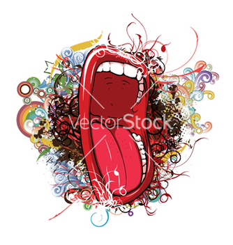 Free mouth with floral vector - vector gratuit #249603