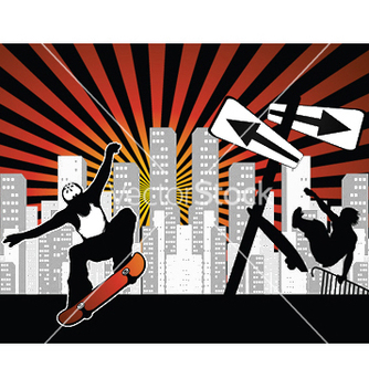 Free urban background with skaters vector - Free vector #250223