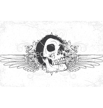 Free skull with grunge and wings vector - vector gratuit #250353