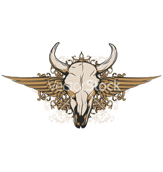 Free vintage emblem with animal skull vector - Free vector #250683