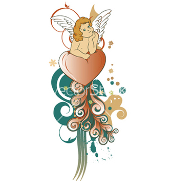 Free angel with floral vector - Kostenloses vector #250883