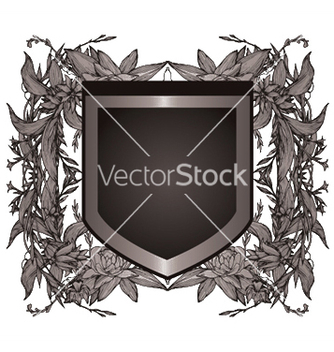 Free shield with floral vector - Kostenloses vector #251243