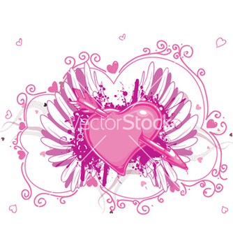 Free heart with grunge and wings vector - Kostenloses vector #251623