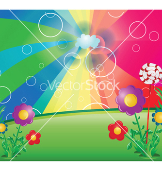 Free spring floral background with rays vector - vector #251653 gratis