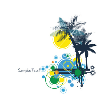 Free summer background with palm trees vector - бесплатный vector #251863