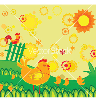 Free easter background with chickens vector - бесплатный vector #252263