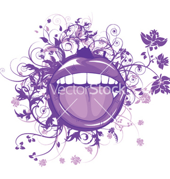 Free mouth with floral vector - vector gratuit #252333