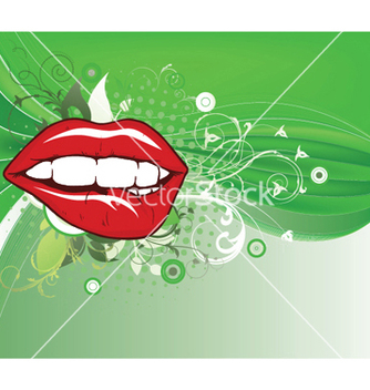 Free lips with floral vector - vector gratuit #252453