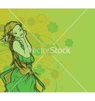 Free girl with floral vector - vector gratuit #252823