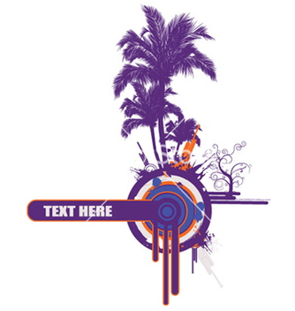 Free palm trees with grunge vector - Free vector #253803