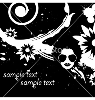 Free floral background with funky face and splash vector - Kostenloses vector #253923