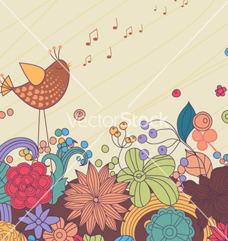 Free bird with floral vector - Kostenloses vector #254483