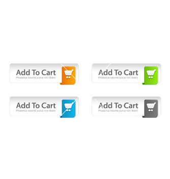Free colorful add to cart buttons set vector - Free vector #254543