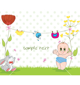 Free baby with rabbit vector - vector gratuit #255213