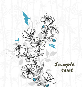 Free birds with floral vector - Kostenloses vector #255473