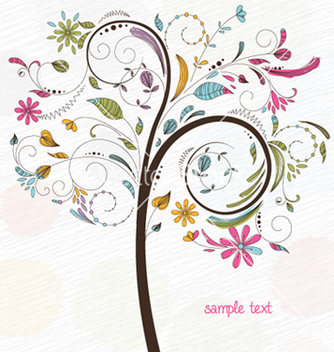 Free doodles background with colorful tree vector - Free vector #255523