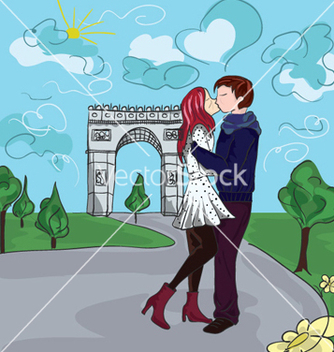 Free paris doodles with lovers vector - vector gratuit #255643
