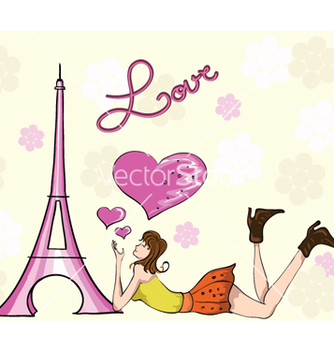 Free paris doodles with lady vector - vector gratuit #256333