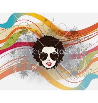Free funky face with floral vector - Free vector #256783