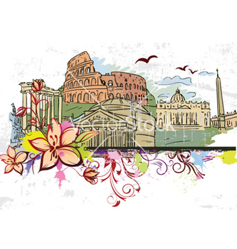 Free rome doodles with floral vector - Free vector #256923