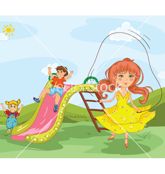 Free kids playing in the park vector - Free vector #257763